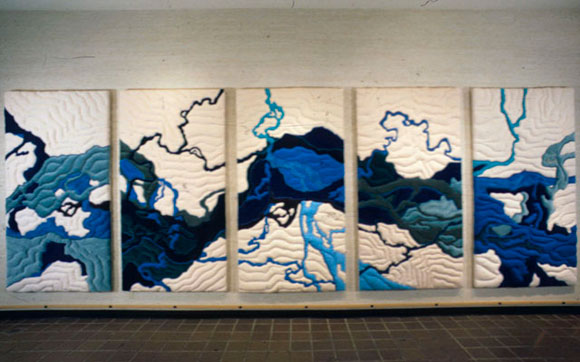 quilted panel installation depicting the Tanana River and its tributaries